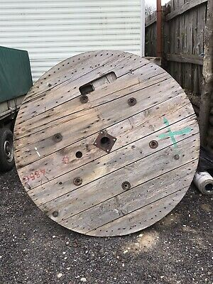 Large Wooden Cable Drum Top For Table Upcycle • 25£