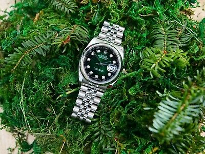 $ CDN10641.05 • Buy Vintage Rolex Datejust Graduated Green Dial With Diamond Hour Markers Watch