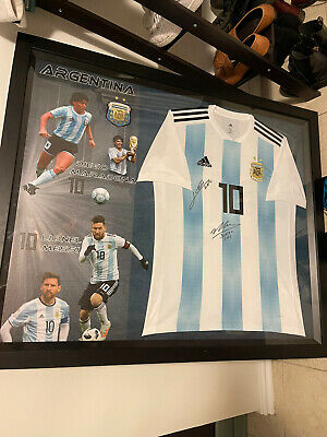 AU699 • Buy Diego Maradonna And Messi Framed Signed Jersey Football GENUINE AUTHENTIC