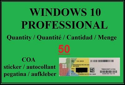 $ CDN845.23 • Buy 50x Windows 10 PROFESSIONAL Microsoft COA Sticker/label Key License -WIN 10 Pro