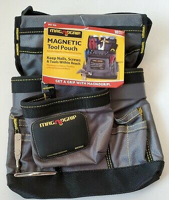 $15.99 • Buy MagnoGrip 11 In. 10-Pocket Magnetic Tool Pouch With Belt, Platinum