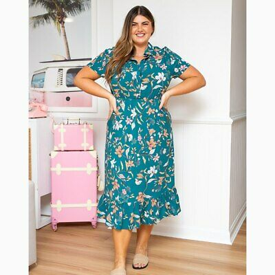 AU69.95 • Buy Midi Shirt Dress In Teal Floral By Freez Clothing*