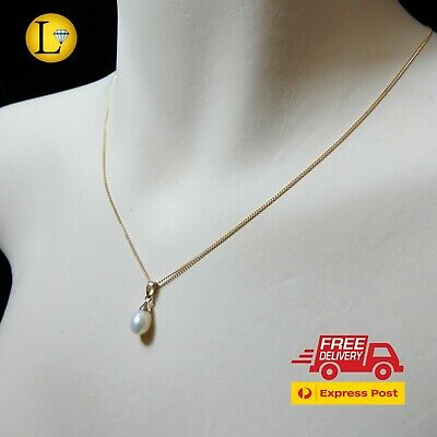 AU58 • Buy Genuine 9K Solid Yellow Gold Pearl Pendant Fine Chain Necklace (9ct 375)