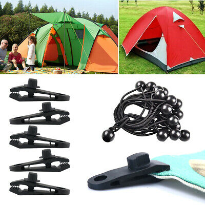 10 Pcs/Set Tent Tarp Tarpaulin Fasteners Clips Holder Buckle With Bungee Cord • 6.49£