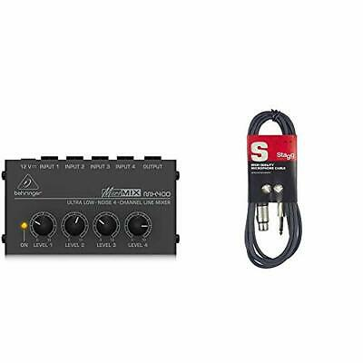 £31.57 • Buy Behringer MX400 Micromix Low Noise 4 Channel Mono Line Mixer & Stagg 6m XLR To