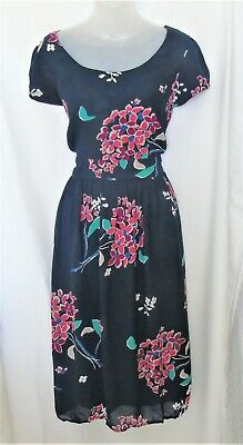 £12 • Buy MONSOON Navy Blue And Coral Floral Bouquet Print Tea Dress ~ UK 14
