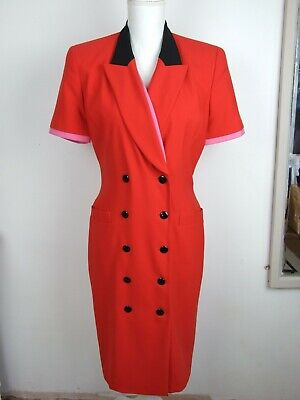 ESCADA VINTAGE 1980's MARGARETHA LEY RED DOUBLE BREASTED DRESS Size 10 • 50£