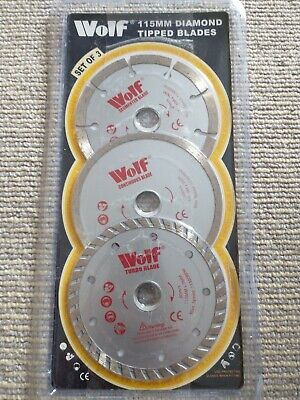 Wolf Pack 3 115mm 4.5  Angle Grinder Diamond Tipped Cutting Discs Blades • 11.50£