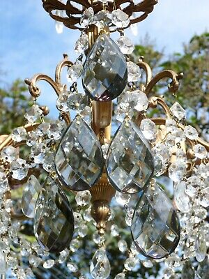 £9.99 • Buy *SET OF 5* Vintage Chandelier LARGE Smoke Lead Glass Almond Drops Spares Parts