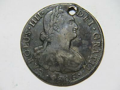 AU6.48 • Buy Mexico 1806 Mo Th 8 Reales Low Grade Damaged Silver World Coin 🌈⭐🌈