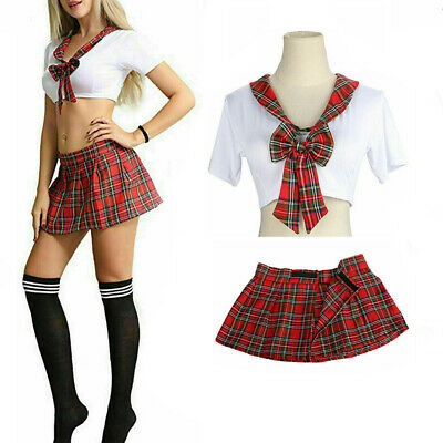 £5.99 • Buy Sexy Womens School Girls Uniform Lingerie Plaid Skirt Role Play Costume Outfits