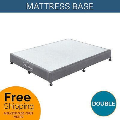 AU329 • Buy Double Mattress Bed Base Charcoal Fabric Pine Wooden KD Slat Bed Frame Ensemble