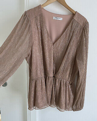 AU25.10 • Buy Forever New Curve Dusty Pink Metalic Ladies Cross Over Top. Size 16 Flattering