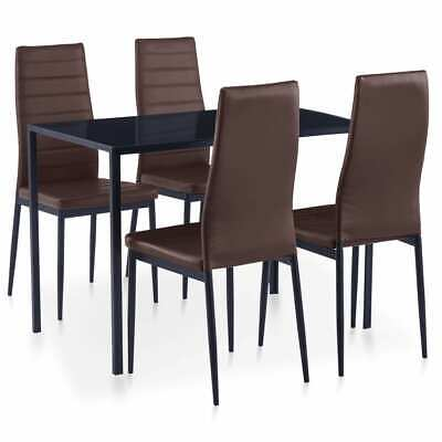 AU194.99 • Buy VidaXL 5 Pieces Dining Set Brown 4 Chairs And Tempered Glass Kitchen Table