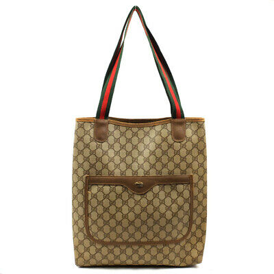 AU110.95 • Buy GUCCI Tote Bag Old Gucci GG Plats Beige