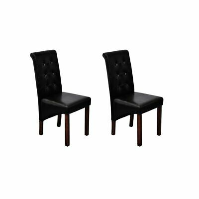 AU184.99 • Buy VidaXL 2x Dining Chairs Artificial Leather Black Home Kitchen Furniture Seat