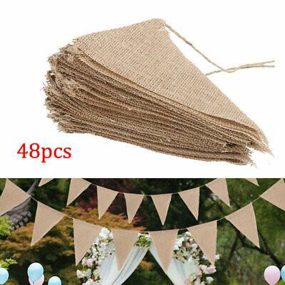 £7.95 • Buy 10M Bunting Banners Hessian Wedding Party Decoration Flags Burlap Banner