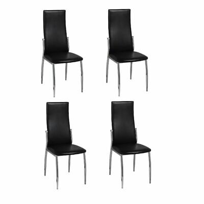 AU243.99 • Buy VidaXL 4x Dining Chairs Artificial Leather Black Premium Kitchen Cafe Seat