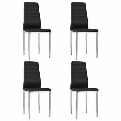 AU174.99 • Buy VidaXL 4x Dining Chairs Black Faux Leather Office Kitchen Dinner Side Seat
