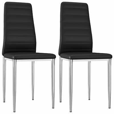 AU112.99 • Buy VidaXL 2x Dining Chairs Black Faux Leather Office Kitchen Dinner Side Seat