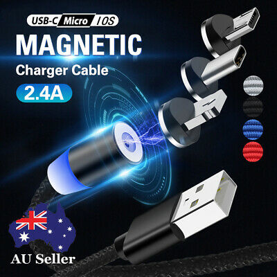 AU4.22 • Buy AU 1/2/3M Round Fast Charger Cable Magnetic Charger IOS Android Type-C Micro USB