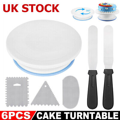 £6.99 • Buy 6PCS Cake Decorating Turntable Set Tools Mould Stainless Spatula Baking Home DIY