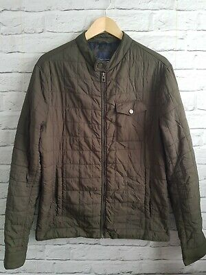 ZARA MAN Camo Green Army Quilted Jacket Coat Size L Large Bomber • 15£