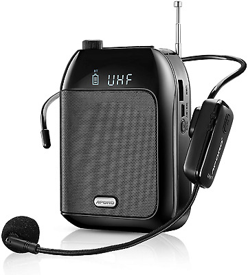 £37.85 • Buy Wireless Voice Amplifier With UHF Microphone Headset, 15W Rechargeable Bluetooth