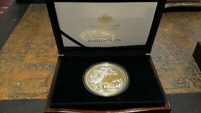 AU740 • Buy 2020 $1 Mob Of Roos 5oz Selectively Gold Gilded, Silver Proof Coin. Photo Of COA