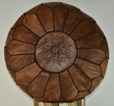 Moroccan Leather Pouffe Footstool Ottoman Dark Brown Handmade *brown Stitchng* • 58.99£
