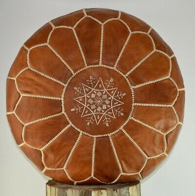 Tan Brown Leather Moroccan Pouffe Footstool Ottoman Handmade *naturally Tanned* • 56.99£