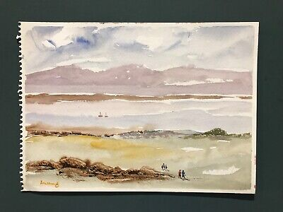 Vintage Original Unframed Sea/Beach Scene Watercolour Painting By Armstrong • 4.99£