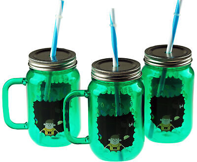 £11.99 • Buy 3 Plastic Drinking Cups Mason Jars With Decorated Lid And Straw - Green Jungle