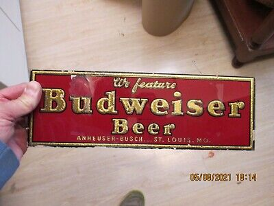 $ CDN97.04 • Buy Small,Antique Vintage We Feature Budweiser Beer Glass Reverse Painted Sign