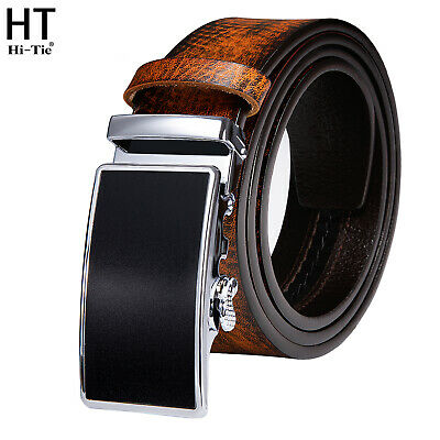 £21.99 • Buy UK Tan Leather Mens Belts Black Alloy Automatic Ratchet Buckles Brown Waistband