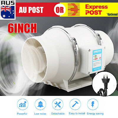 AU34.59 • Buy Low Noise 6  Inline Duct Fan Hydroponic Extractor Fan Vent Exhaust Air Blower D