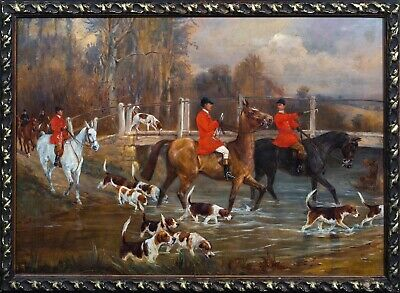 £1900 • Buy Large 19th Century English Fox Hunt & Hounds Hunting Landscape By Percy Gravely