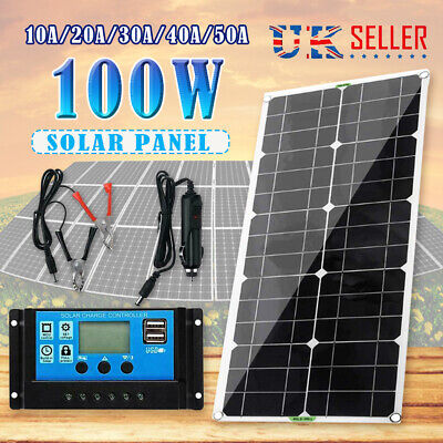 £38.99 • Buy Portable Solar Panel Kit Battery Charger Controller Car Van Camping Boat 100W