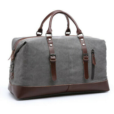 $25.99 • Buy Classic Men's Canvas Leather Travel Duffle Bag Shoulder Weekend Luggage Gym Tote