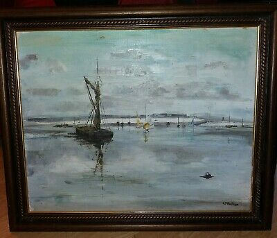 Vintage 20th Century Oil Painting On Board Sea Boat Scene Signed  • 20£