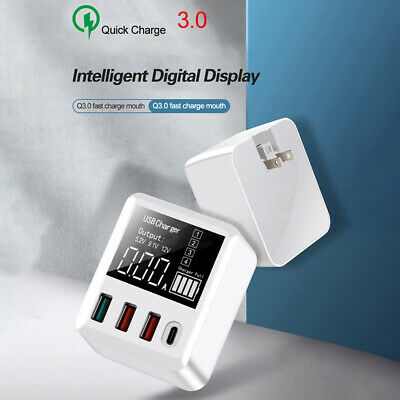 AU30.52 • Buy QC 3.0 4-Port Smart USB Wall Charger 30W Quick Charging LED Digital DisplayLDBL