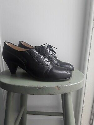 AU54.40 • Buy Hobbs 1930s/40s WW2 Black Leather Shoes Cone Heels Size 7/40