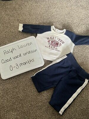 £5.99 • Buy Baby Boy Ralph Lauren Tracksuit 0-3 Top Jumper Joggers Outfit Set Newborn Rugby