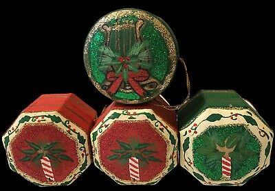 Vintage 4 Christmas Tree Hanging Gift Boxes Xmas Decorations Ornaments Retro . • 15.49£