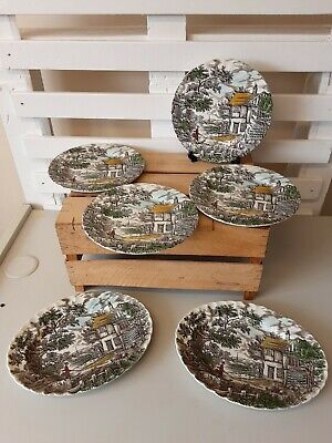 """£18 • Buy VINTAGE """"The Hunter""""  Dinner Plates & Oval Plates By Myott Hand Engraved"""