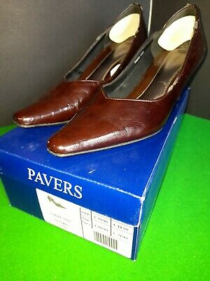 Ladies Brown Leather Shoes Thana PAVERS Size 5 EU 40 Mid Heel VGC Boxed • 4.90£