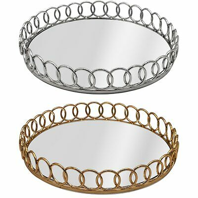 £24.99 • Buy Round Chain Link Mirrored Vanity Candle Perfume Drinks Serving Tray