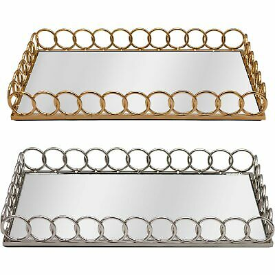 £24.99 • Buy Mirrored Chain Link Rectangular Vanity Candle Perfume Drinks Serving Tray