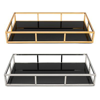 £24.99 • Buy Rectangular Vanity Candle Perfume Drinks Serving Tray With Black Mirrored Base