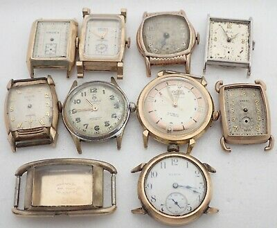 $ CDN68.58 • Buy Lot 8+ Vintage Mens Art Deco Swiss Gruen Elgin Gold Filled Wristwatch Watch Part